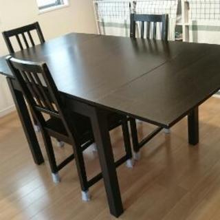IKEA ダイニングテーブル & チェア(3脚)セット