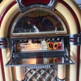 サン商事 / SUNDOG SDC-500 ジュークボックス 型ラジオ / カセットデッキ付き AM/FM ラジオ / アンティーク調 アーチ型 ラジオ / 中古品 - 家電