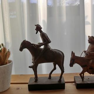 スペインOURO社VTG No.248-1A,1B 木彫りドンキホーテとサンチョパンサ  ヴィンテージ ビンテージ スペイン製彫刻 Rare Vintage OURO ARTESANIA DON QUIJOTE&SANCHO PANZA Wood Carving No.248-1A,1B  DON QUIXOTE Made in Spain - その他