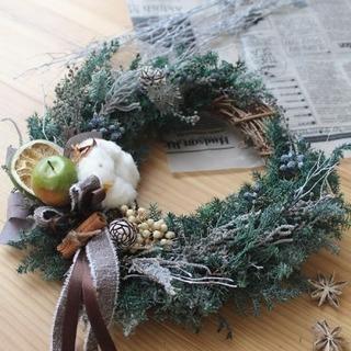 初心者様&お子さま連れ歓迎 クリスマス三日月リースレッスン