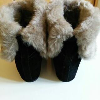 値下げ中‼︎Mサイズ ベロア素材のインヒールブーツ - 靴/バッグ