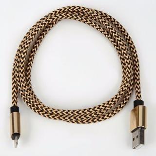 新品 断線に強いiphoneスマホ充電器 高品質ナイロン製 ゴールド