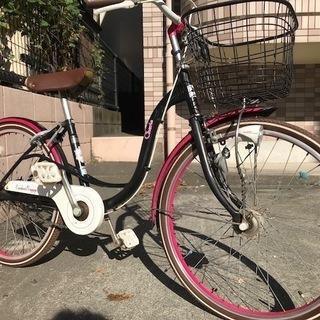 22インチ 子供自転車 アサヒ自転車 シェリール 黒×ピンク 前カ...