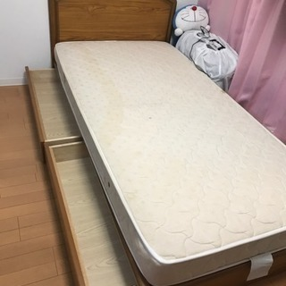 シングルベッド 収納付フレーム&マットレス