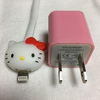 【光る!USBケーブル】iPhone5.6.7.8 ハローキティ➕充電器
