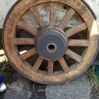 車輪 鉄巻き   木製 和鉄製 大八車車輪 アンティーク オブジ...