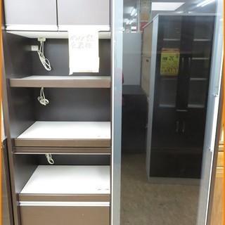 【引取限定】ガラス戸 食器棚 ダークブラウン【小倉南区葛原東】