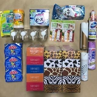 箱ティッシュ、洗剤、入浴剤、バスクリーナー、湿気とり、ポンプボトル等