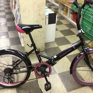 [5004]折りたたみ自転車 20インチ 外装6段変速 ブラック×ピンク