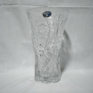 フラワーベース ボヘミアクリスタル花瓶 【中古】 ハンドカット