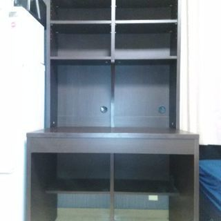 【ニッセン】木目調本棚付き机