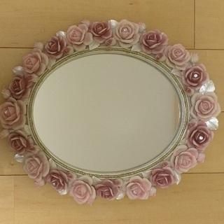 ☆ バラ柄 壁掛け鏡 ☆