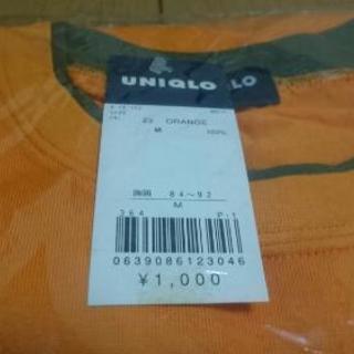 新品 未使用 ユニクロ バイカラー Tシャツ Mサイズ オレンジ