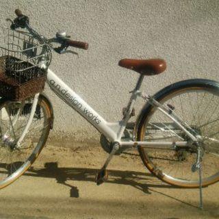 子供24インチ自転車 白色・女の子向き大人っぽいデザイン♪
