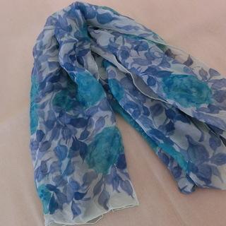 シルク花柄スカーフ 絹 値下げ