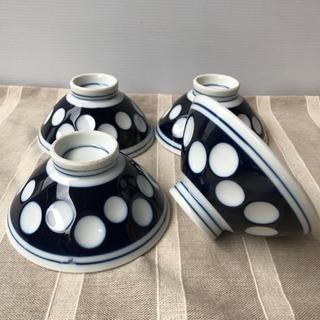 未使用 昭和レトロ 水玉 お茶碗 飯碗 4個セット