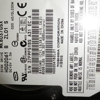 値下げしました!ノートパソコン用のHDD80ギガ1500円です