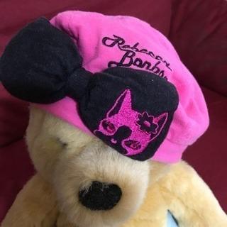 レベッカ ピンク 犬 ボンボン リボン ベレー帽 帽子 キッズ ベビー