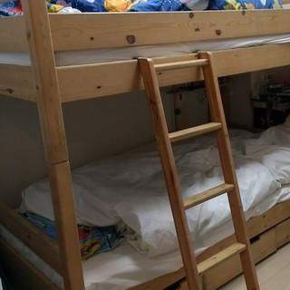 無印パイン材二段ベッド(ベッド下収納付き)の画像