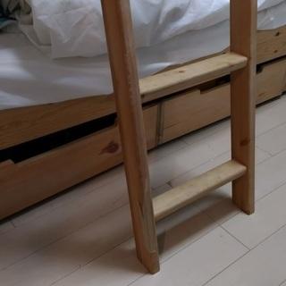 無印パイン材二段ベッド(ベッド下収納付き) - 品川区