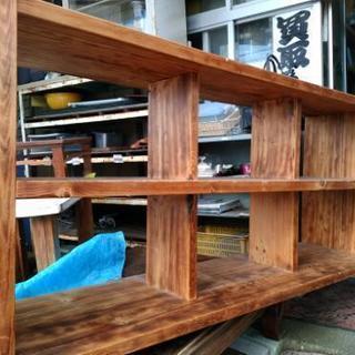 無垢材、焼杉、重厚3段棚、手造り品