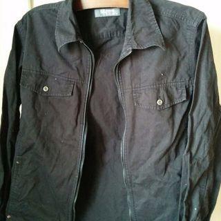 黒のシャツ風ファスナー付きジャケット 紳士M