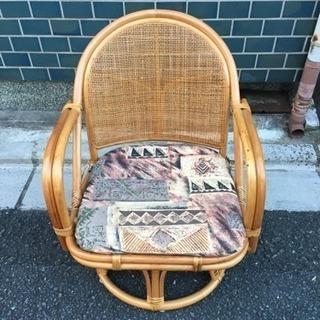 回転式座椅子 藤製