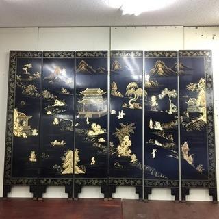 中国 黒漆 大屏風