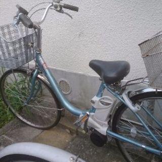 電動自転車Panasonic水色 後カゴ付き
