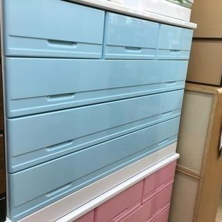 【アウトレット家具】POPカラー 4段ローチェスト ブルー