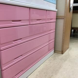 【アウトレット家具】POPカラー 4段ローチェスト ピンク