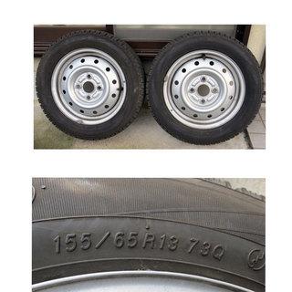 スタッドレスタイヤ 155/65R13  2本 ホイール付 YOK...