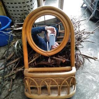 自然素材枠の鏡