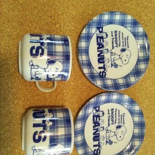 スヌーピーマグ&ケーキ皿2客セット(中古)