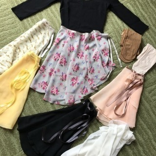 バレエ 黒レオタード・巻きスカート6枚セット