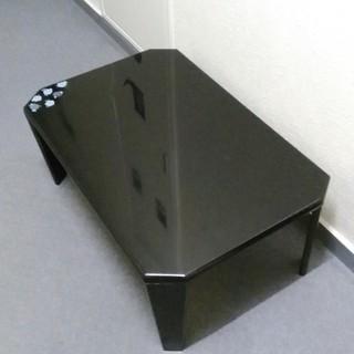 お洒落な黒PU塗装 折り畳み ロ―テ―ブル ちゃぶ台 750x500 A