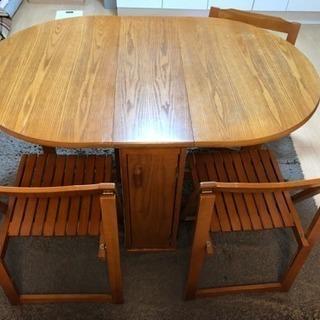 折りたたみダイニングテーブル+椅子4脚