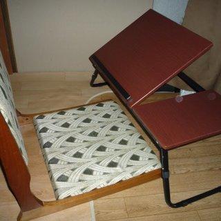 折り畳み式 ノートパソコン デスク 及び折りたたみ式 座椅子 和風...