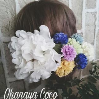 華やか 真っ白な牡丹とマムの髪飾り8点Set No151