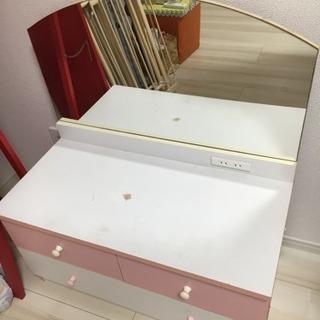 【値下げ】大きな鏡付きドレッサー ホワイト&ピンク