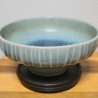 アンティーク 花瓶 置物 皿 インテリア 水色 ガラス 焼き物系 7-F