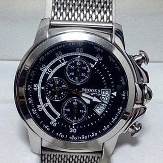 ブルックスブラザーズ ケース付クロノグラフ5気圧防水 腕時計シルバー