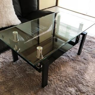 ガラステーブル オシャレ 黒
