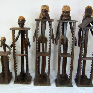CDラック 木彫りの原人 大中小セット 小物入れ バリ アジアン雑貨