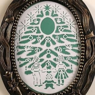 北欧ハンドメイド切り絵の飾り(緑クリスマスツリー)