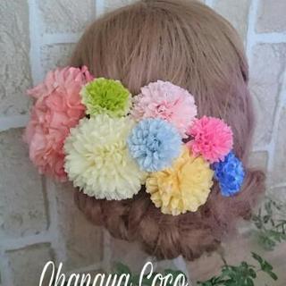 艶やかマムのパステル髪飾り8点Set No152