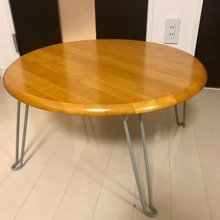 【天然木集成材】折りたたみ式 丸テーブル 60cm