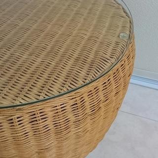 リビング用・籐(ラタン)×ガラス製センターテーブル
