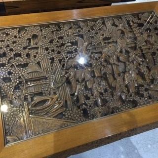 中国美術 彫刻座卓 ガラス天板テーブル