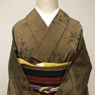 良品。オーガニックな草木染め正絹紬、単衣。